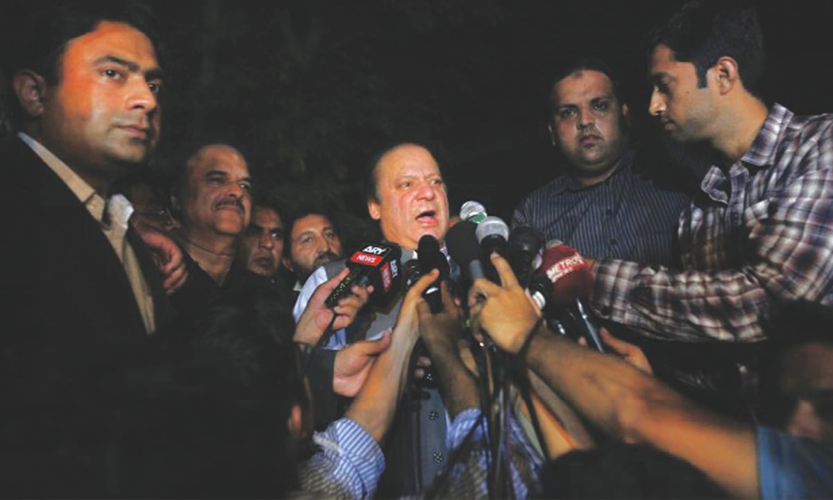 Prime Minister Nawaz Sharif addresses the media outside Shaukat Khanum Memorial Cancer Hospital on May 14, 2013 | Reuters