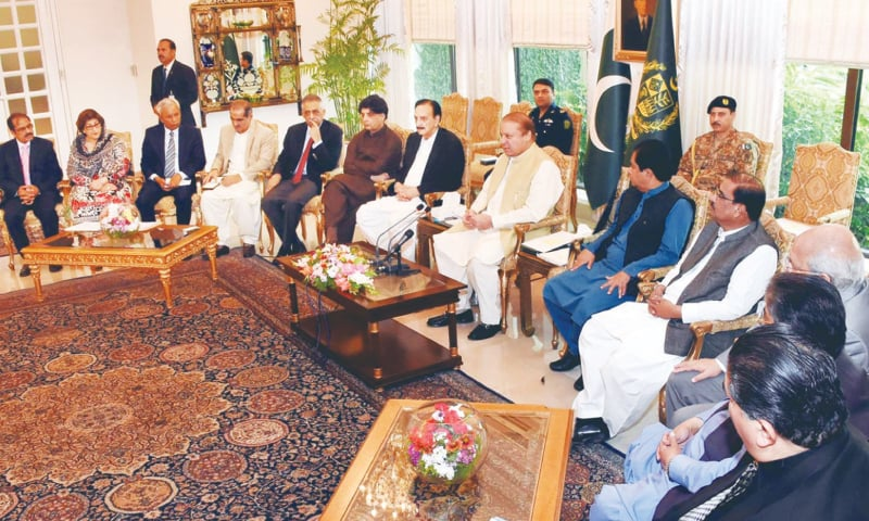 ISLAMABAD: Prime Minister Nawaz Sharif chairs a meeting of the Sindh PML-N on Wednesday.— Online