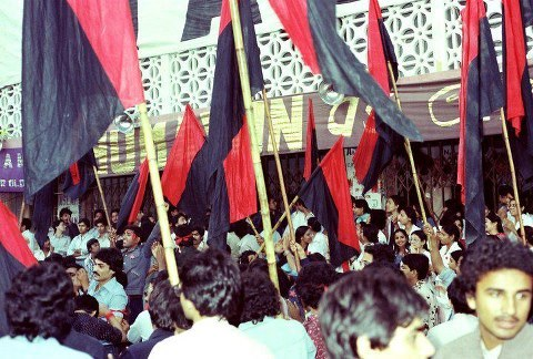 NSF activists celebrate victory against IJT in the 1983 student union elections at Dow Medical College, Karachi.