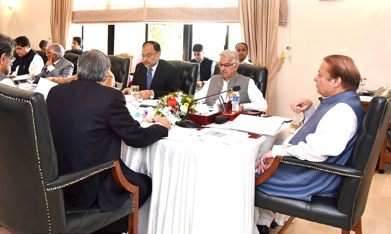 ISLAMABAD: Prime Minister Nawaz Sharif chairing a meeting of the Cabinet Committee on Energy on Friday.— APP