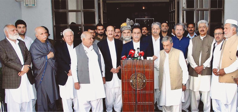 NATIONAL Assembly Speaker Sardar Ayaz Sadiq talks to reporters along with the parliamentary delegation after returning from Afghanistan.—APP