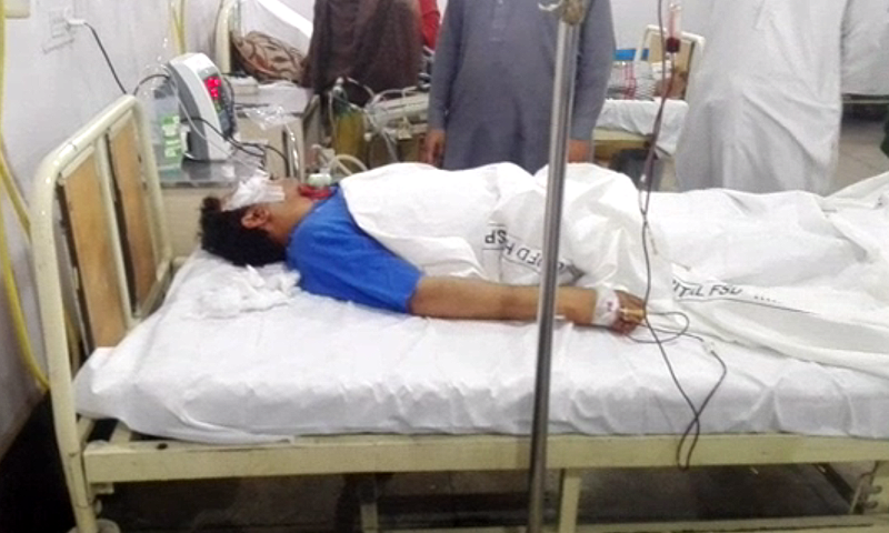 Faisal Saleh Hayat sustained head injuries and a broken arm.— DawnNews