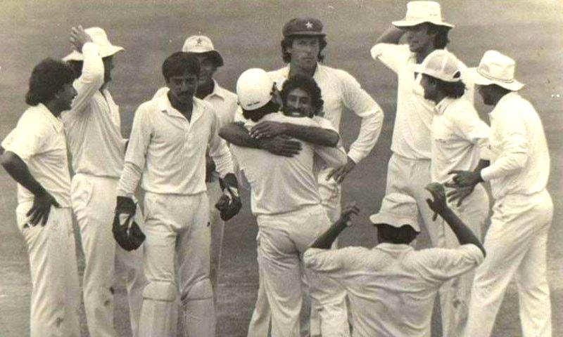 Pakistan celebrate Vengsarkar's wicket. Photo: Cricistan