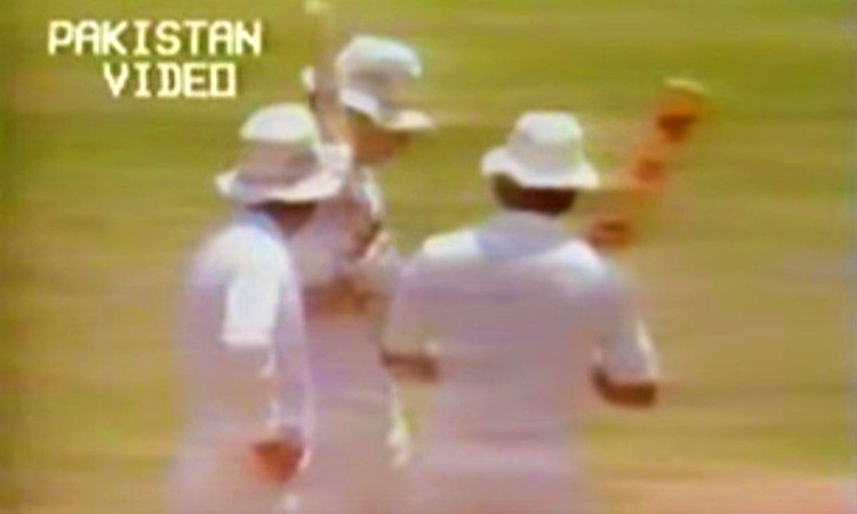 Miandad interrupts a mid-pitch meeting between Gavaskar and Binny.  Photo: Video Grab.