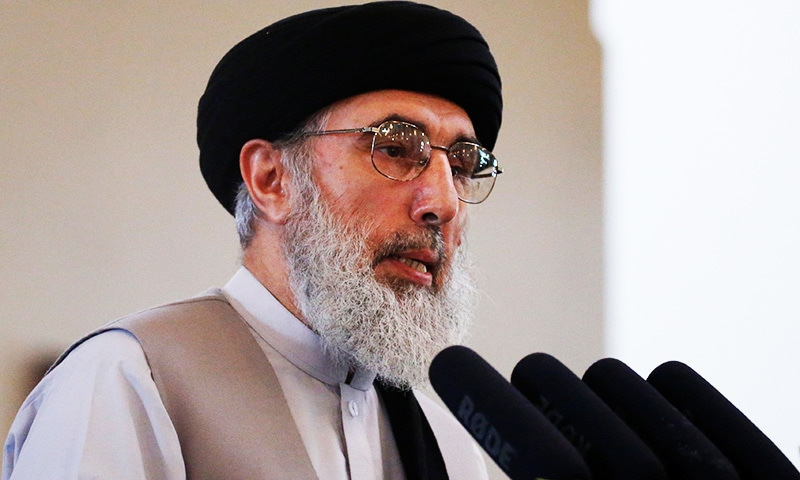 Gulbuddin Hekmatyar speaks during a welcoming ceremony at the presidential palace in Kabul.—Reuters