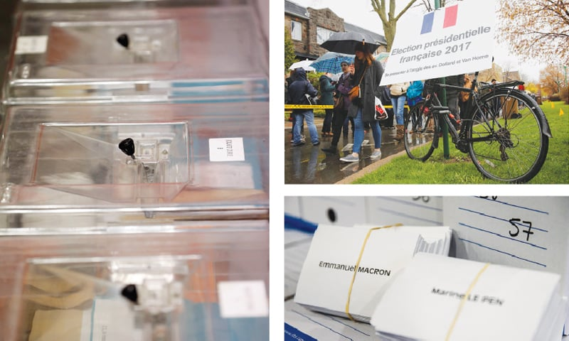 BALLOT boxes (left) are seen as municipal employees prepare polling stations on the eve of the second round of the French presidential election in Tulle on Saturday. French citizens wait in line (top right) to cast their votes in Montreal, Canada. Ballot papers with the names of the two candidates for the presidential election at the City Hall in Montreuil, outside Paris.—Agencies