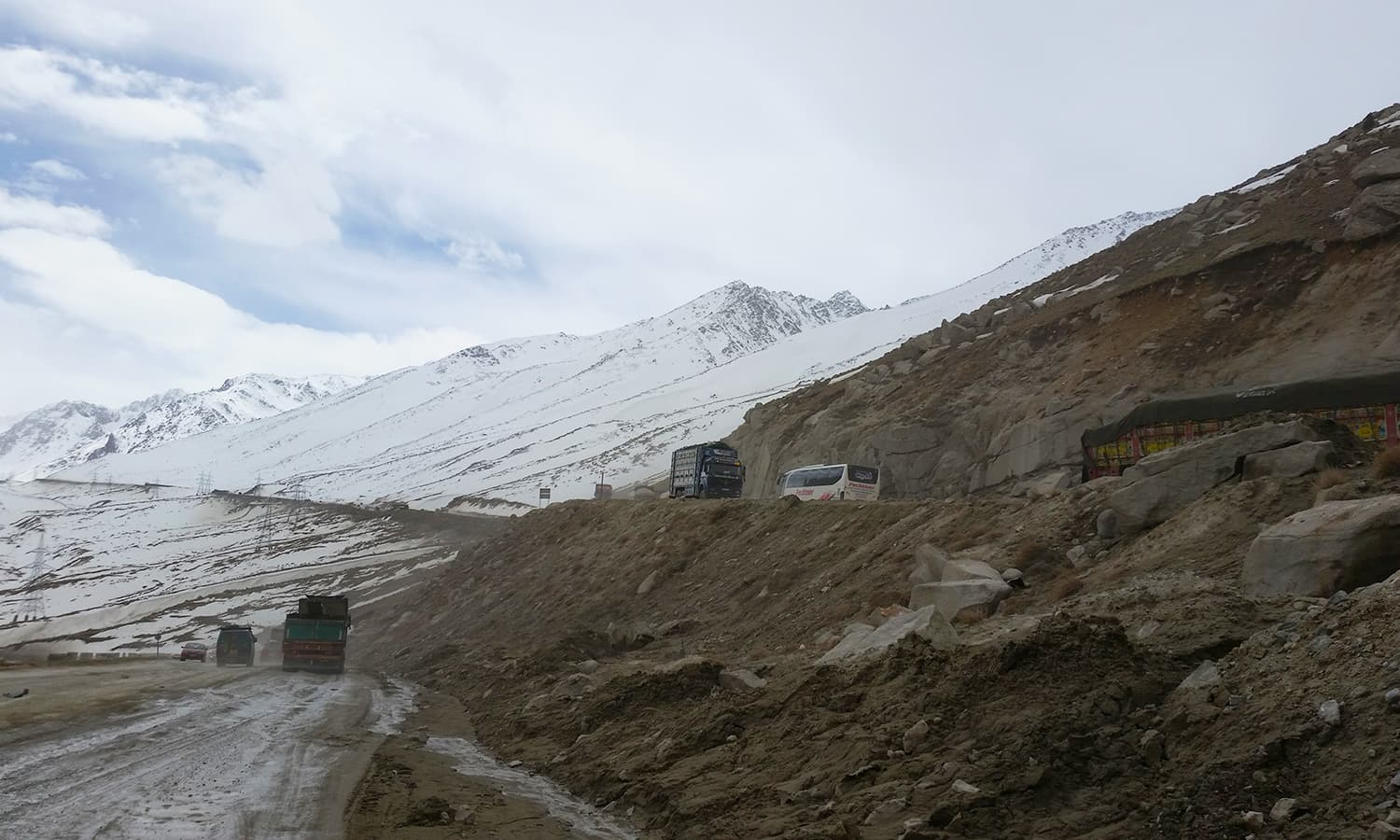 Driving outside the Salang Tunnel on the northern side.
