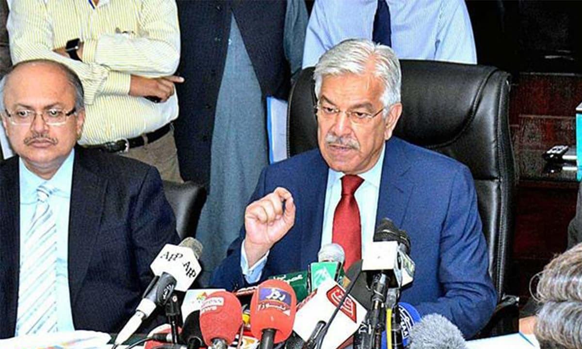 Khawaja Asif addresses a press conference | Photo courtesy: APP