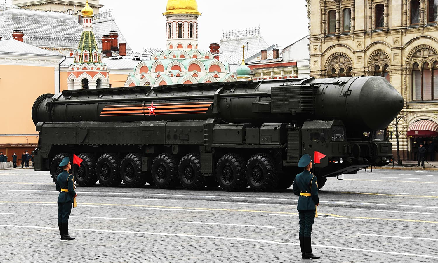 A Russian Yars RS-24 intercontinental ballistic missile system. -AFP