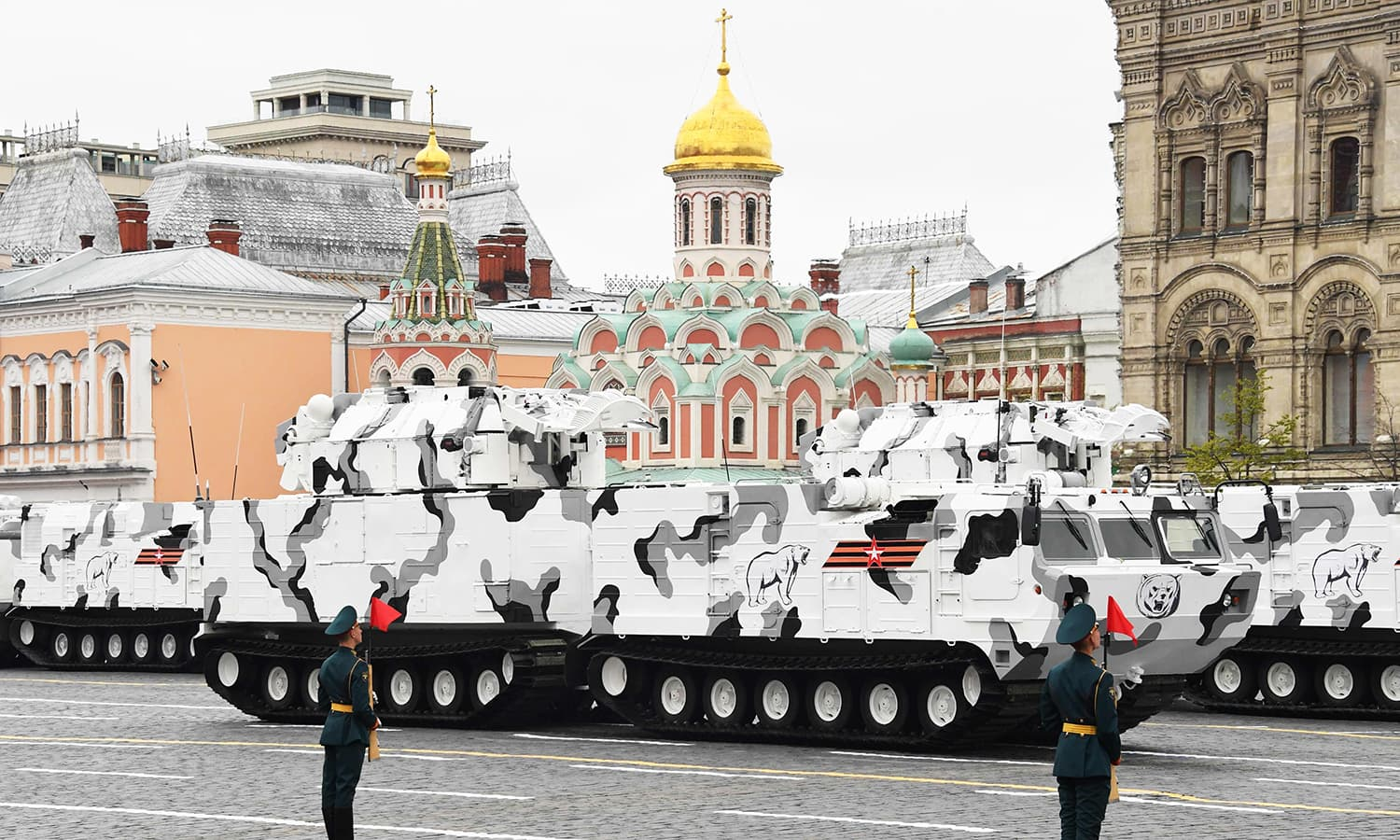 Russian TOR-M2 tactical surface-to-air missile systems of the Arctic Air Defence Division ride through Red Square. -AFP