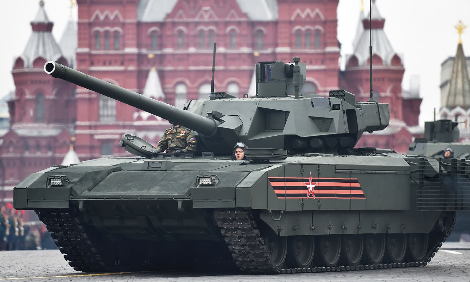 A T-14 Armata tank rides through Red Square during the Victory Day military parade. -AFP