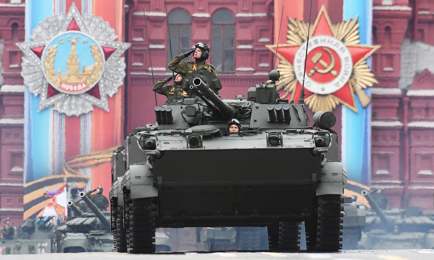 A BMP-3 armoured vehicle rides through Red Square. -AFP