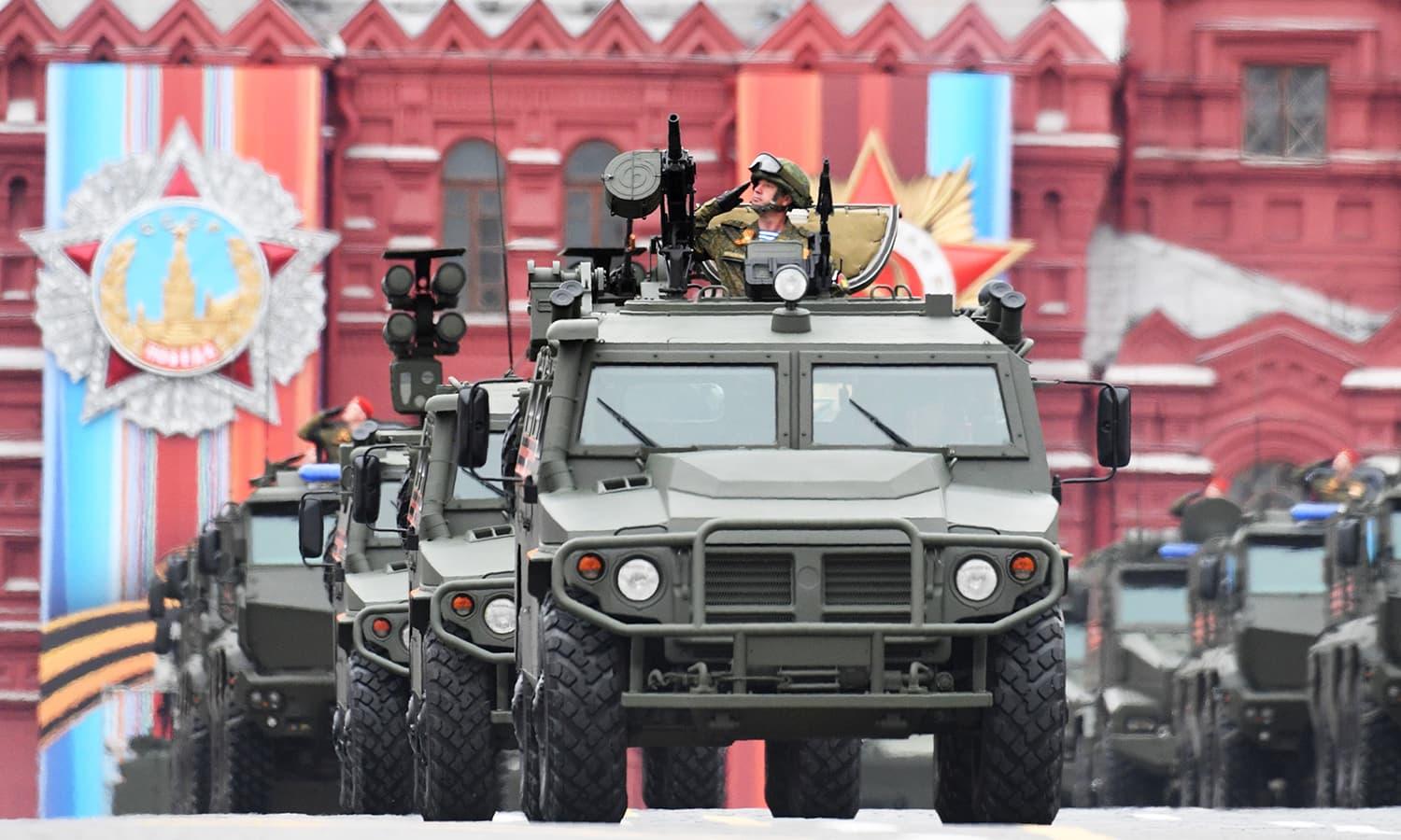A Tigr all-terrain infantry mobility vehicle rides through Red Square. -AFP