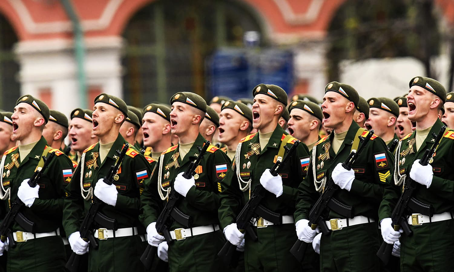 Russian servicemen take part in the Victory Day military parade. -AFP