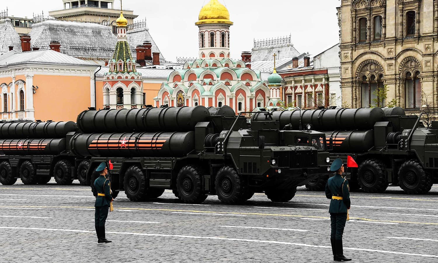 Russian S-400 Triumph long-range surface-to-air missile systems ride through Red Square. -AFP