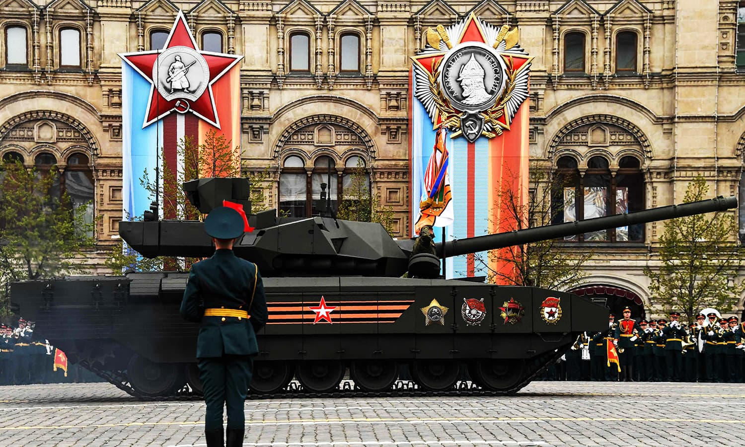 A T-14 Armata tank rides through Red Square. -AFP