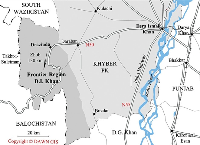 MAP showing the area in Dera Ismail Khan from where the workers were kidnapped in November 2016.