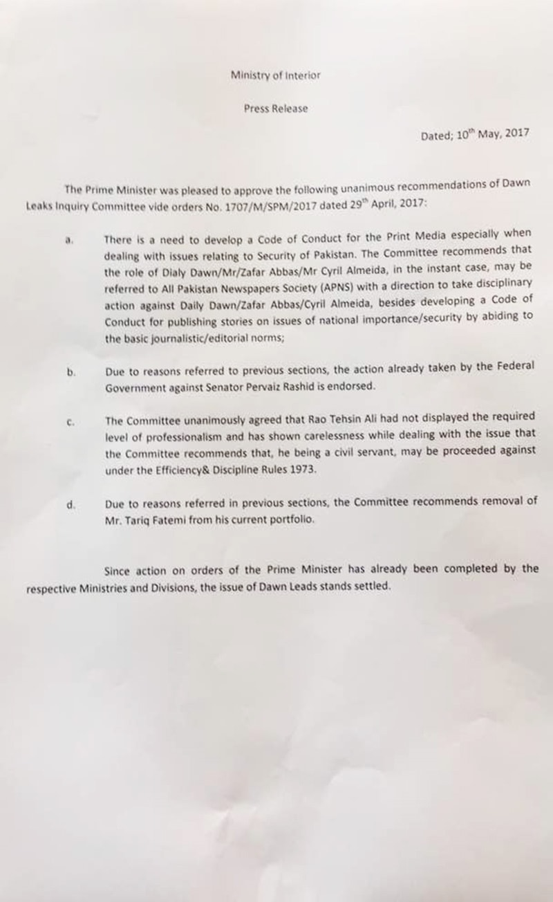 Interior Ministry document─DawnNews.