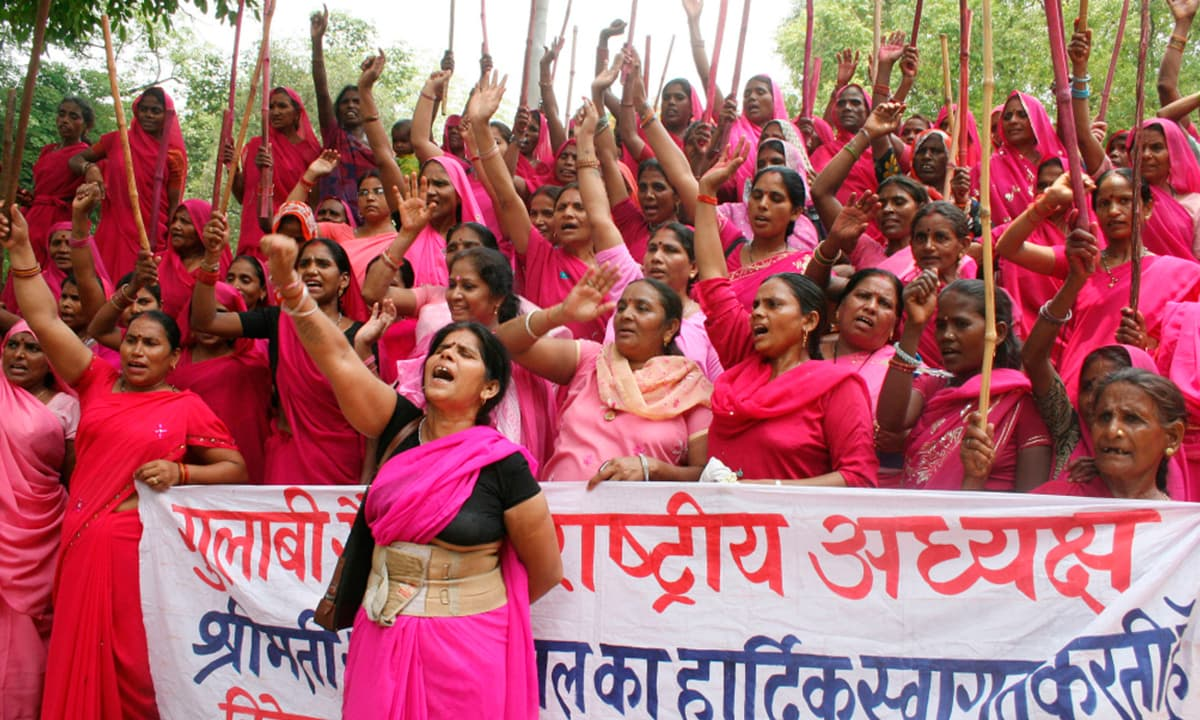 Members of the Pink Brigade shout slogans as they gather in the northern Indian city of Allahabad in 2009 | Reuters