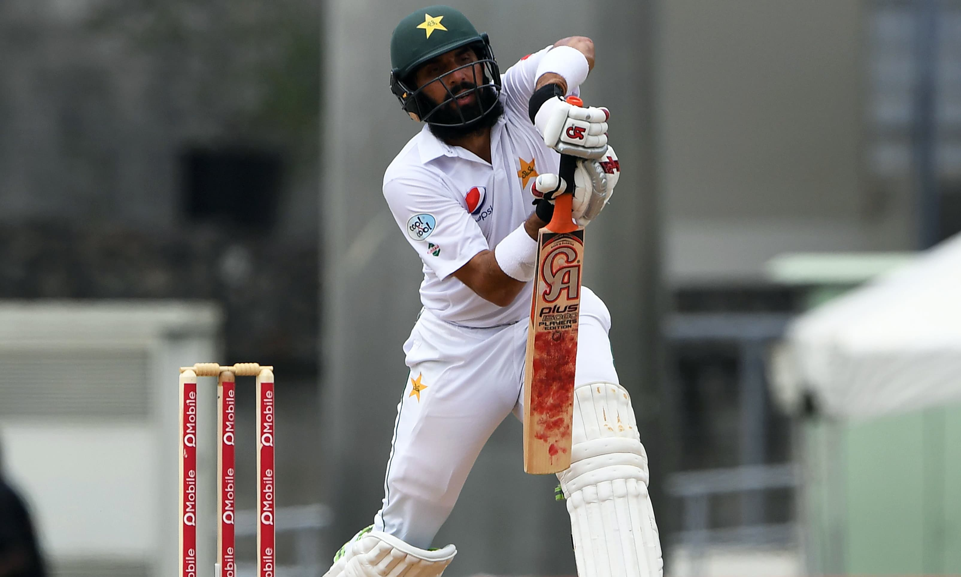 Misbah-ul-Haq plays a shot during his final test match. —AFP