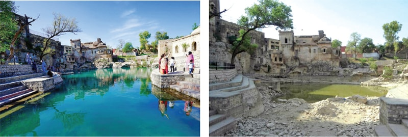 THE photo on the left offers a familiar view of the pond at Katas Raj temples, while the photo on the right was taken last week. — Dawn