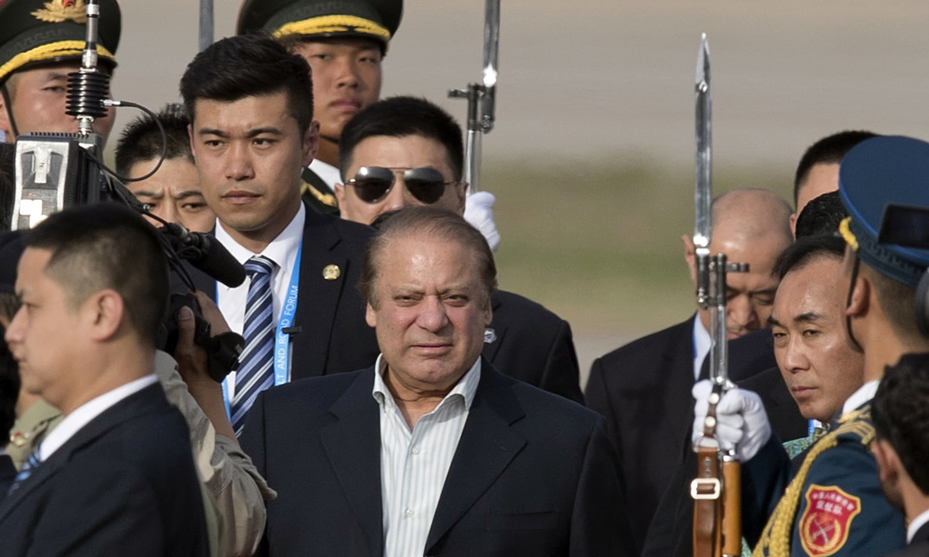 PM Nawaz Sharif arrives at Beijing's International Airport ahead of the Belt and Road Forum in Beijing. —AP