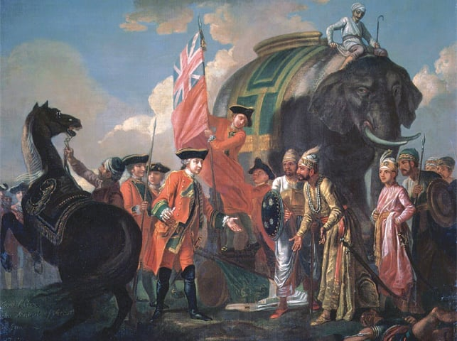 Lord Robert Clive meets with Mir Jafar Ali Khan — who betrayed Nawab Siraj-ud-Daulah — after the Battle of Plassey. Mir Jafar was subsequently made Nawab of Bengal, and his rule is considered the start of British Imperialism in India | Public domain