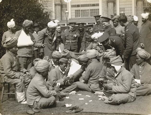 Indian soldiers, who made up almost a third of the British Expeditionary Force during World War I, recuperate at a military hospital in Brighton, UK | The British Library