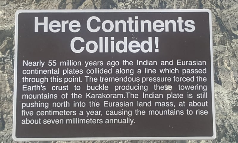 One of the signboards on KKH explaining the significance of various places