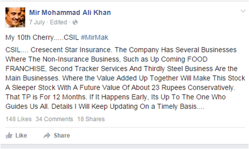 Another example of MAK 'inducing' his followers, according to the SECP.