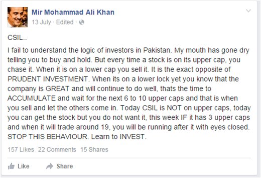 MAK's follow-up post on CSIL, in which he apparently urges his followers to buy more CSIL stock. Shared by the SECP.
