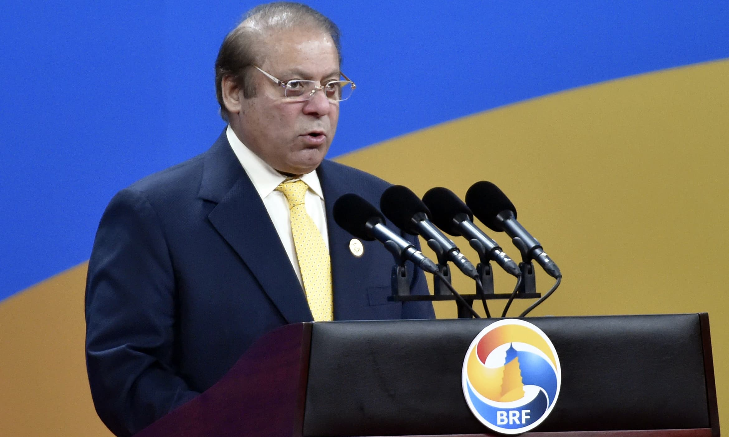 Nawaz Sharif delivers a speech on Plenary Session of High-Level Dialogue, at the Belt and Road Forum in Beijing. —AP