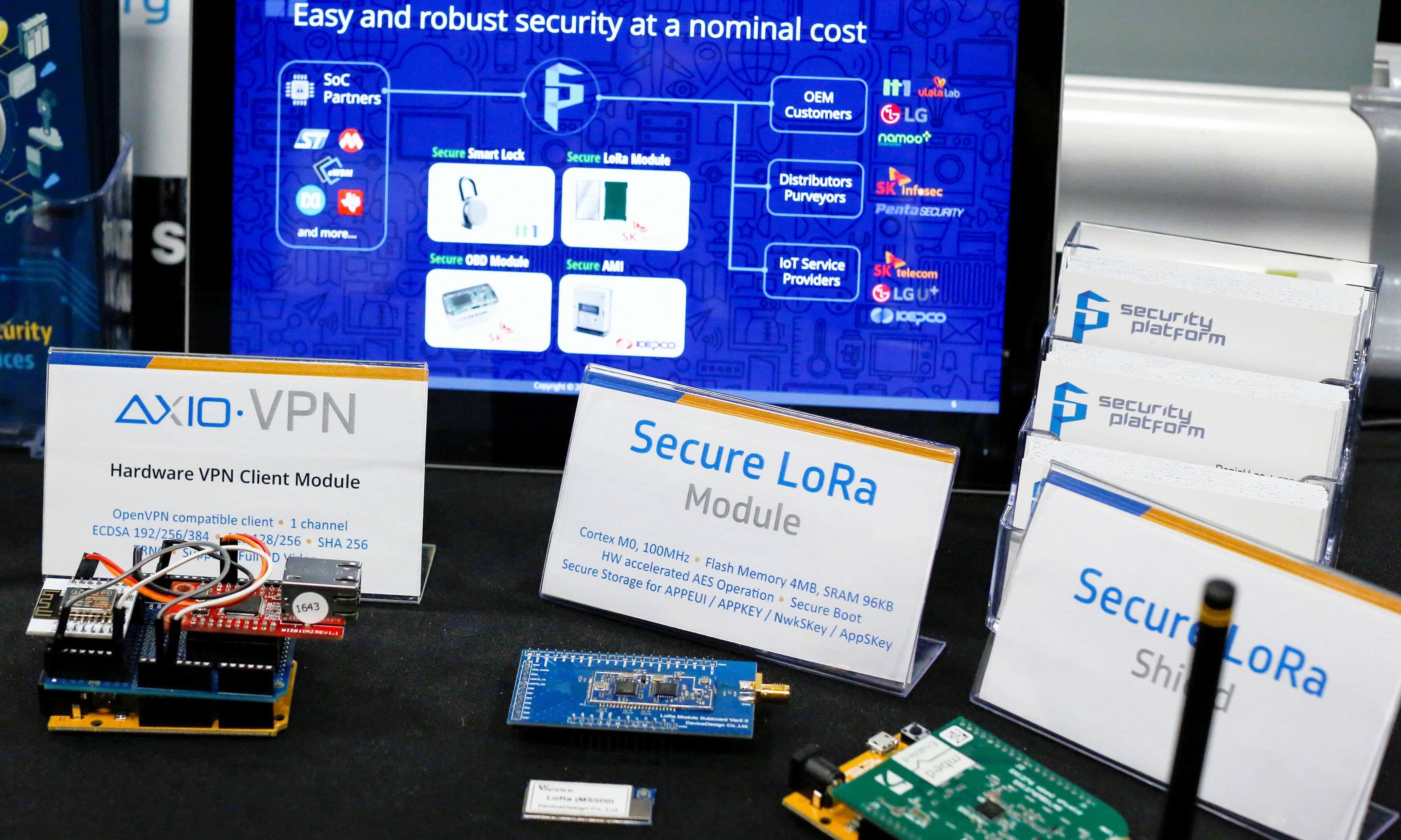 Hardware used for Cybersecurity are displayed at the desk of Security Platform during an event in Manhattan. —Reuters