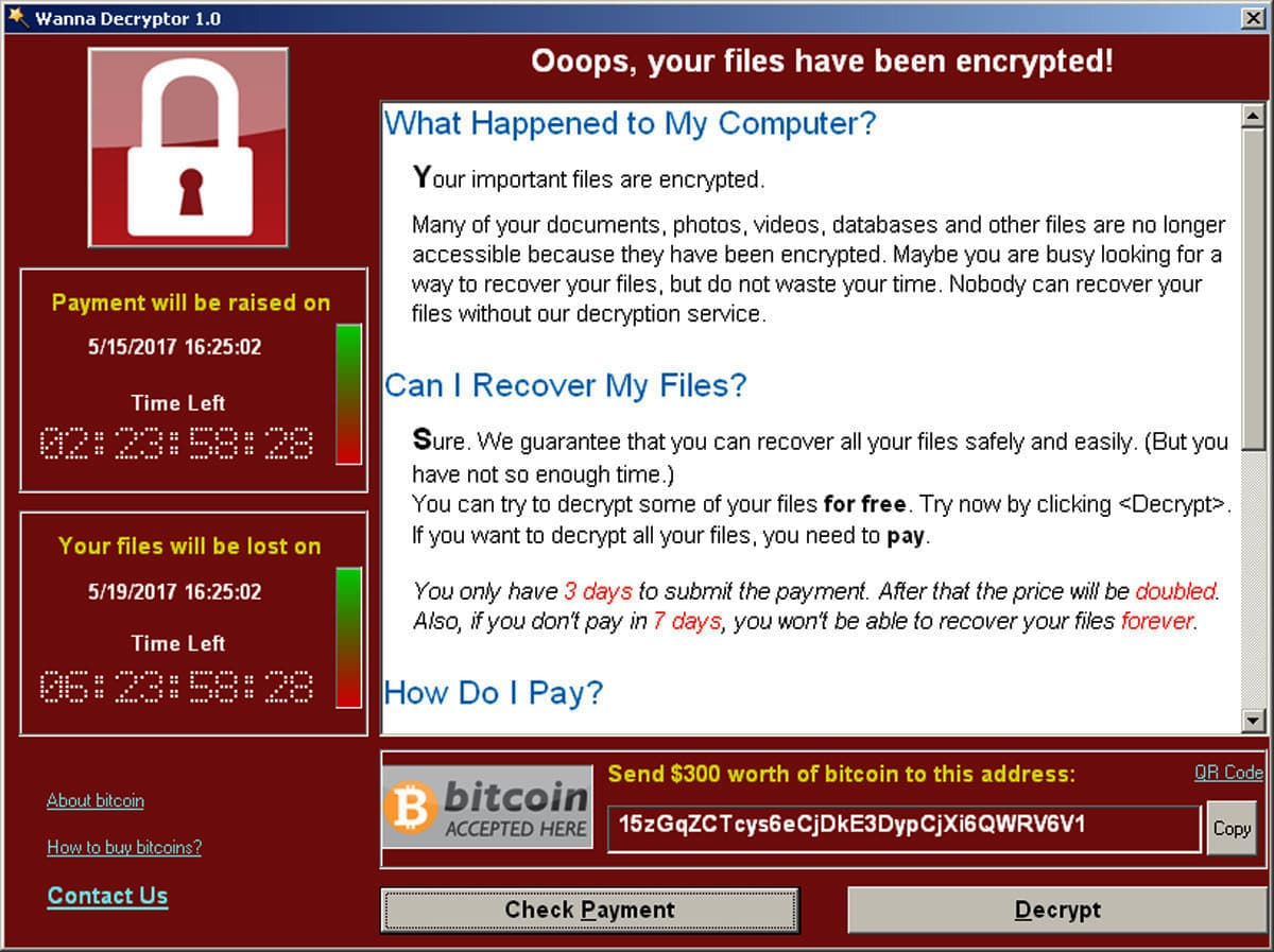 A screenshot shows a WannaCry ransomware demand. —Reuters