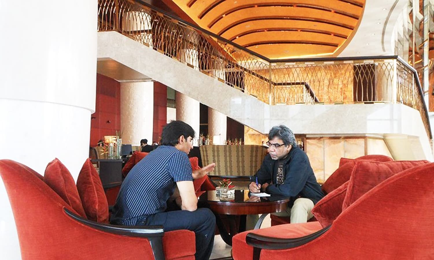 Talking to Misbah at the team's hotel in Dubai in January 2014. — Photo: Amber Paracha