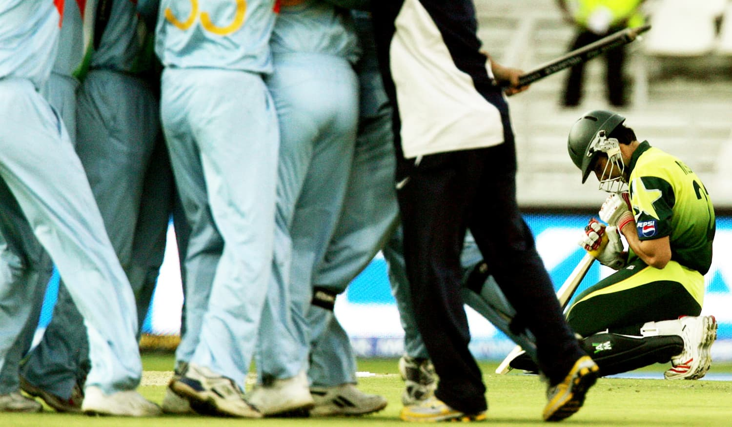 So near, and yet so far: Misbah is distraught at the 2007 T20 World Cup final, falling five runs short of what could have been a victory entirely orchestrated by him. — Photo: The Cricket Monthly