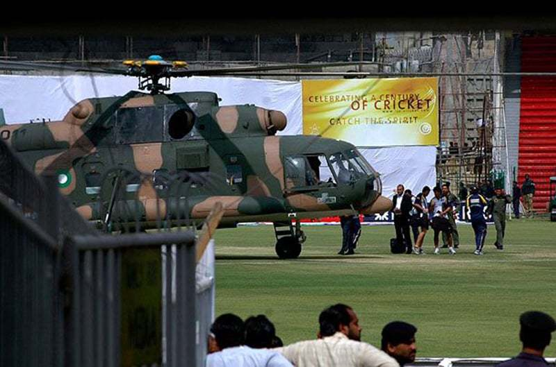 The Sri Lankan team boarding a Pakistan Military helicopter at Lahore's Qadhafi Stadium, after a terrorist attack on the team's bus in 2009. It is interesting to note that it was during this series that Misbah's form (after his comeback in 2007) began to slump.  — Photo: AP