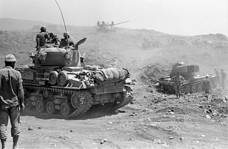 Israeli tanks advancing on the Golan Heights during the Six-Day War in 1967.