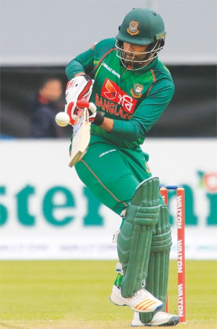 DUBLIN: Bangladesh opener Soumya Sarkar plays a shot during the tri-nation series ODI against Ireland at the Malahide Cricket Club on Friday.—AFP
