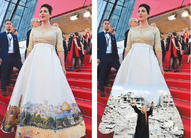 Israeli Culture Minister Miri Regev at Cannes opening gala wearing a billowing white dress emblazoned with the Jerusalem skyline. Web users swiftly offered up Photoshopped redesigns replacing the skyline with a Palestinian woman next to buildings destroyed by Israeli air strikes.