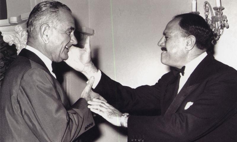 Ayub Khan playfully 'slapping' US President Lyndon B. Johnson