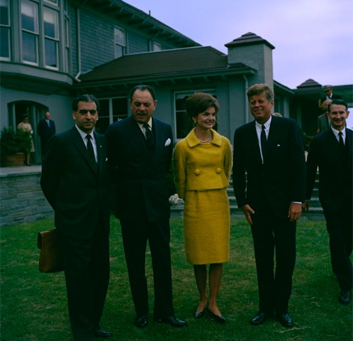 President John F. Kennedy and First Lady Jacqueline Kennedy with President of Pakistan, Muhammad Ayub Khan, at Hammersmith Farm