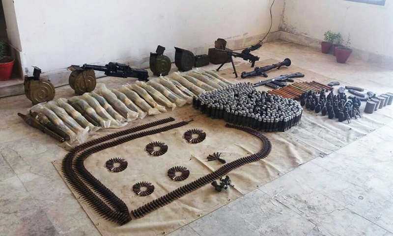Seized weapons. -ISPR