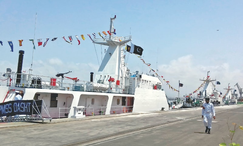 The newly inducted PMSS Dasht at the naval dockyard on Monday. PMSS Hingol and PMSS Basol are lined up behind the new ship.—Fahim Siddiqi/White Star