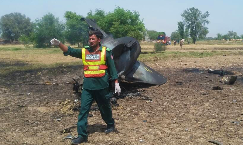 The crashed jet while it was on routine operational training.— DawnNews