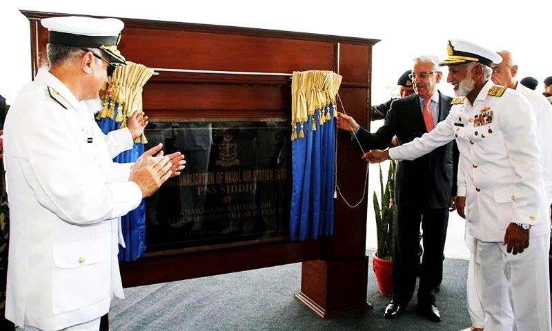 Defence Minister Khawaja Asif and Naval chief Admiral Zakaullah inaugurate Naval Air Station in Turbat.  —ISPR