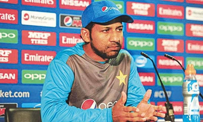 BIRMINGHAM: Pakistan captain Sarfraz Ahmed gestures at a news conference on Friday.— ICC