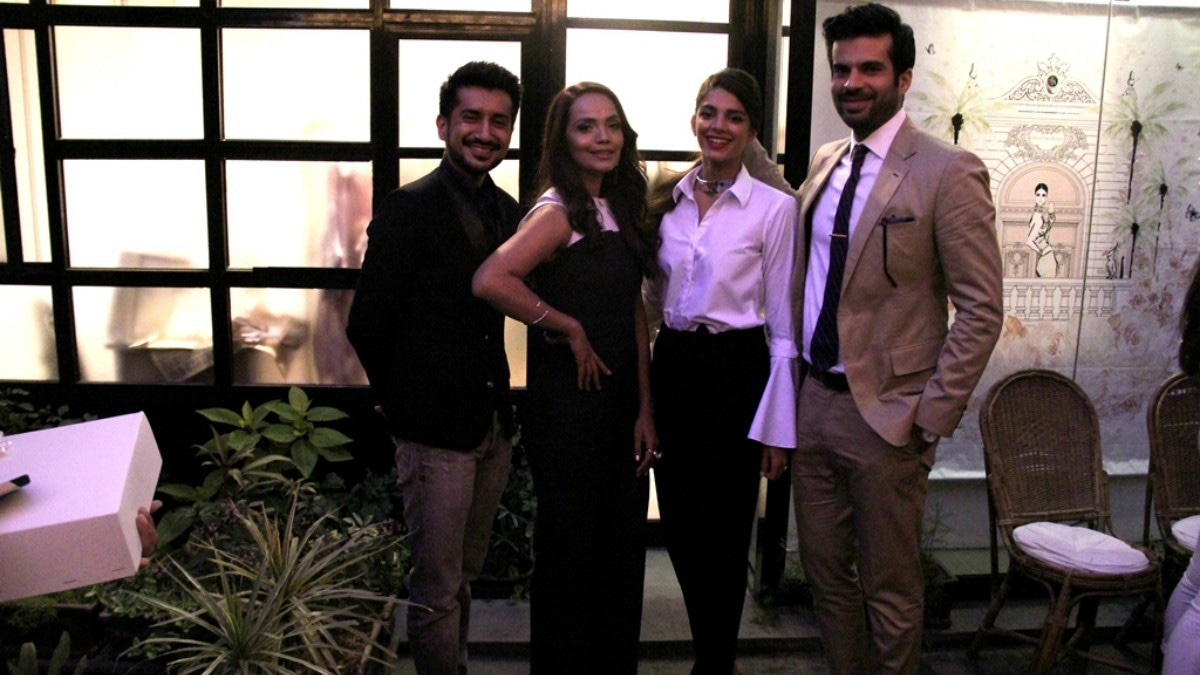 Director Asim Abbasi (left) with stars Aaminah Sheikh, Sanam Saeed and Adnan Malik