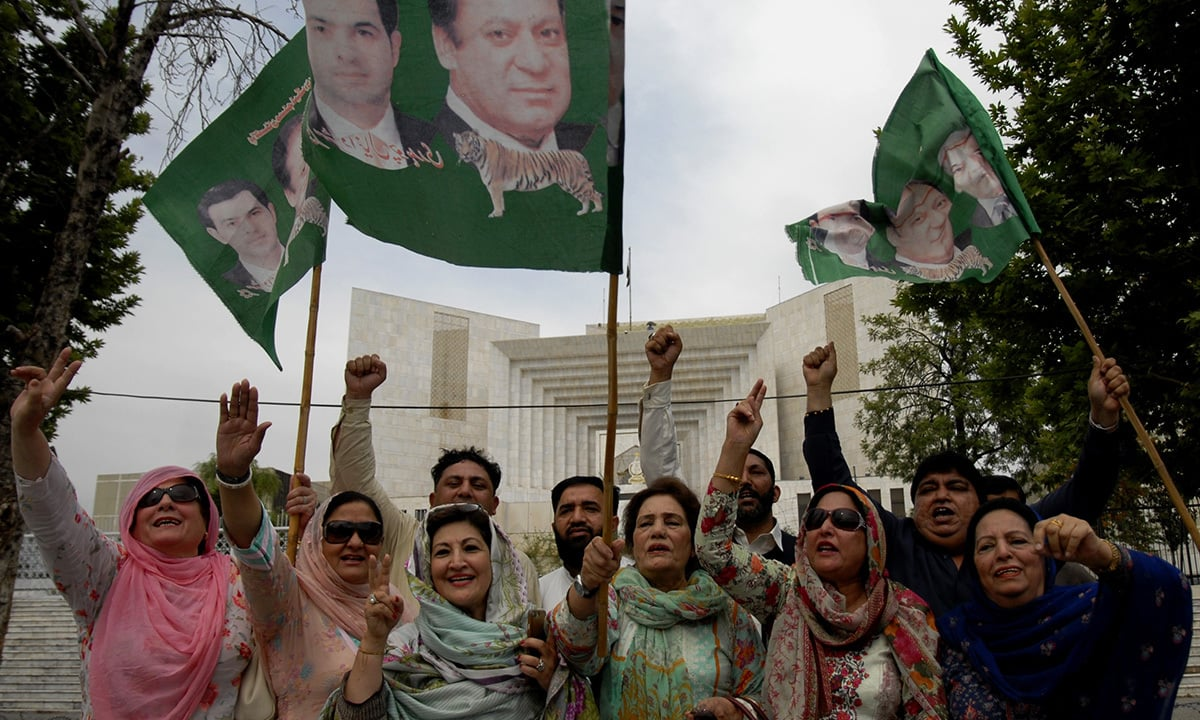 PMLN workers celebrate after the Panama Papers verdict | Mohammad Asim, White Star