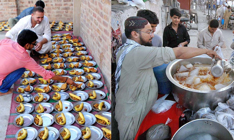 سندھ کے شہر حیدرآباد میں افطاری کی تیاریاں کی جا رہی ہیں—فوٹو: اے پی پی